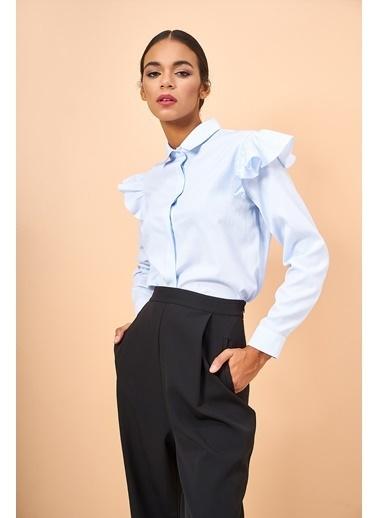 Eda Atalay Uzun Kollu Gömlek Mavi
